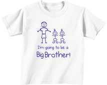 Big Brother Twins Kids Tshirt White T Shirt With Blue Text Children New Born Gift Im Going To Be A Big Brother Present