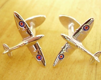 One Pair Enamelled Sterling Silver Spitfire Cufflinks With Fixed Fittings