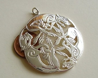 Large Sterling Silver Three Intertwined Dogs Celtic Pendant
