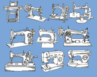 Set 10 Vintage Sewing Machines Redwork Machine Embroidery DESIGN NO. 156