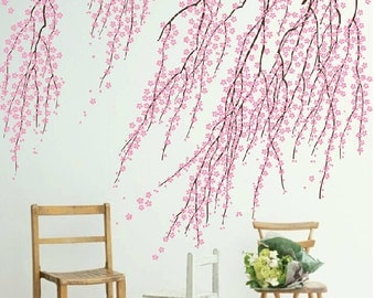 Cherry blossom wall decals,Pink flower wall sticker,blossom tree branch wall decal stickers,floral vinyl wall decal,livingroom decor-7495