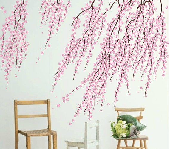 cherry blossom wall decalspink flower wall by walldecorative