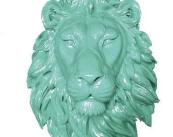 Mint Lion Head Mount Wall Statue. Faux Taxidermy Fake Lion Head.