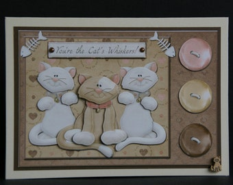 You're the Cat's Whiskers! 3d decoupage card - Happy Birthday