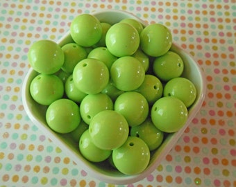 Chartreuse beads, 20mm Gumball Beads, Resin Beads