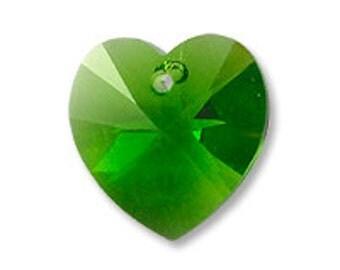 Swarovski 6228 14mm Heart - Fern Green - 1 piece