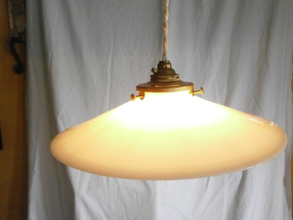 Milk Glass Bath Light: Original Vintage French Light Shade Milk Glass Coolie Shade