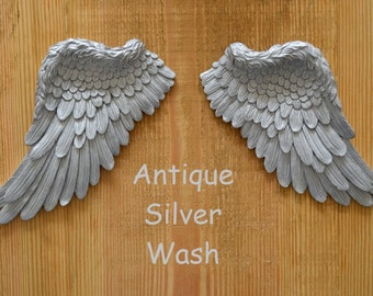 Vintage Antique Style Shabby Chic Silver Angel Wings Wall Art Decoration