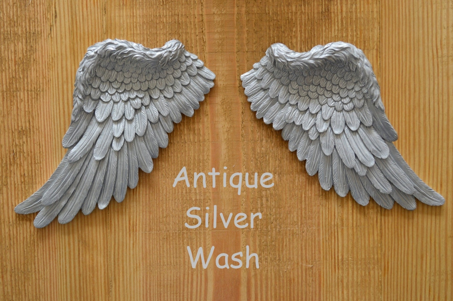 Vintage antique style shabby chic silver angel wings wall art for Angel wings wall decoration