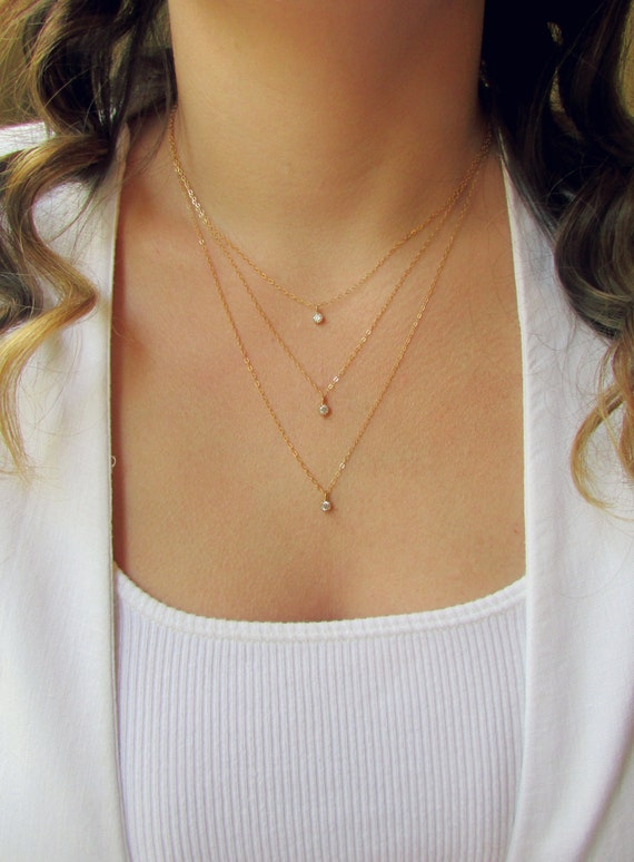 Triple Gold Layered Necklace Set Dainty Gold Necklace