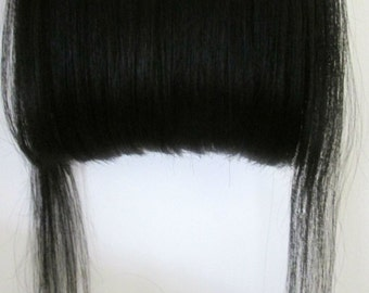 8A Remy Clip In Instant Fringes Bangs 100% Unprocessed Peruvian Human  Hair Jet Black #1 OR #1b off black triple thick