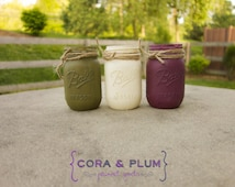 Olive Plum White Shabby Chic Painted Mason Jars Fall Wedding Centerpieces Baby Bridal Shower Country Wedding Home Decor