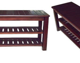 Solid wood shoe rack bench