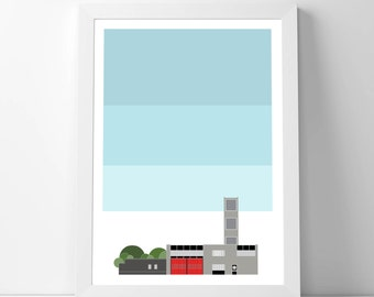 N16 Fire Station with Sky Giclee A2 Art Print