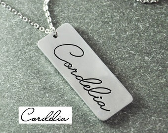 Free shipping - Handwriting Jewelry, Personalized Pendant, Memorial necklace,bar necklace,signature necklace  Mothers Necklace