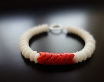 Red African Snake Bead and White Disc Bead Bracelet