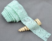 5 Yards Mint Green Elastic Lace Stretch Lace Elastic Lace Trim Elastic Headband Bridal Garter Baby Free Shipping 20USD EL046
