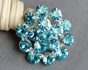 3 Teal Blue Aqua Blue Rhinestone Button Crystal Embellishment FREE Shipping of 20.00 Order Wedding Brooch Hair Comb BT546