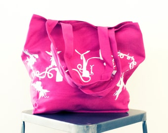 Pretty Pink Tote - 100% Organic Cotton Reusable Shopping Bag - Made in USA