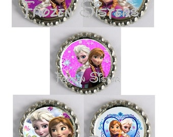 5 Frozen-Sisters Inspired Finished Bottle Caps