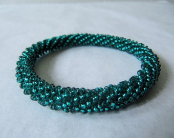 crocheted bracelet from silver lined glass beads