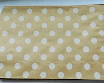 "5"" x 7.5""  White Polka Dots on Brown Kraft Paper Merchandise Bags (20)"