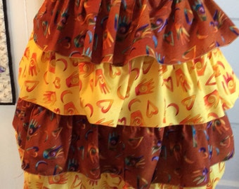 Flirty brown and yellow Ruffled Apron
