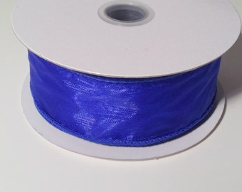 Wired Edge Organza Ribbon - Royal Blue - 10 Yards