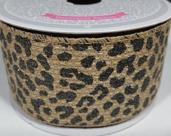 "2"" Canvas Shimmer Leopard Ribbon - Toffee - 10 Yards"