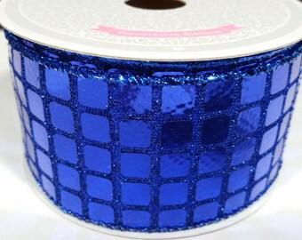 """2"""" Metallic Disco Ribbon - Royal Blue - 10 Yards"""