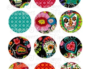 Day of the Dead set of 12 cupcake toppers 2 inch