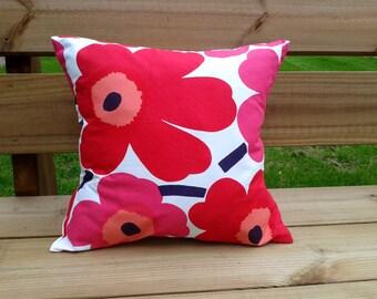 Pillow cover made from Marimekko fabric Unikko, throw pillow or cushion cover, pillow sham or case, Scandinavian modern, red accent pillow
