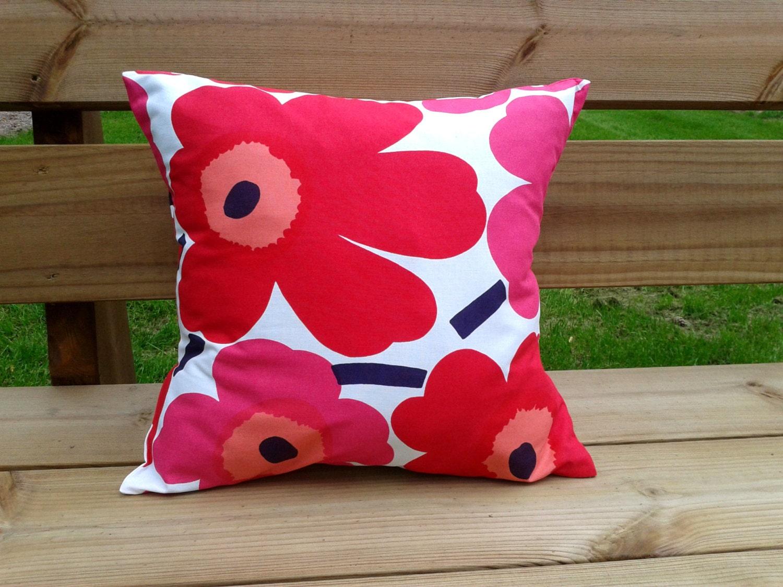 Pillow cover made from Marimekko fabric Unikko throw pillow