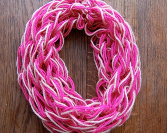 Handwoven Pink and Hot Pink Infinity Scarf