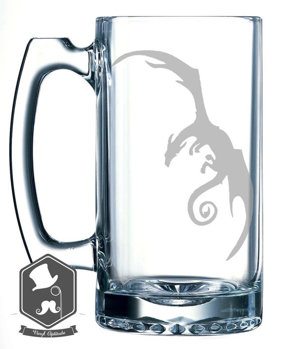Lord of the Rings Inspired Dragon Hobbit GoT Art Personalized Custom Hand Etched Mug 25 oz Beer Stein Glass Cup Great Gift