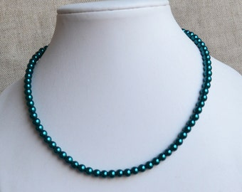 teal color necklace, 6 mm glass pearl necklace, wedding necklace,bridesmaids necklace,statement necklace,flower girl necklace,women necklace