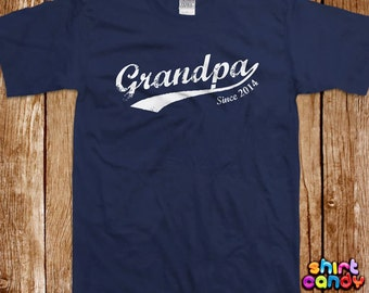 Grandpa T shirt Father's Day Custom With Any Year Gift For Dad Personalized Best Grandpa Ever Birthday Gift For Him Tee Shirt Announcement