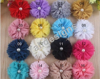 10pcs Wholesale 2.4inch Shabby Flower Brooch/Chiffon Pearl Flower Headdress Vintage Fabric Flower For  Pin and Headband YTA04