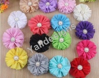 Wholesale Chiffon Flower Brooch/Pearl Flower Headdress DIY Headband Accessories  10pcs/set  YTA12