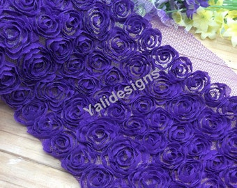 Lace Trim Fabric Bridal Chiffon Lace Trim Grenadine 3D Wedding Mesh 6 Rows Trim  1 yard/5 Yards/10 yards YTA36 -Dark Purple Pick Quantity.