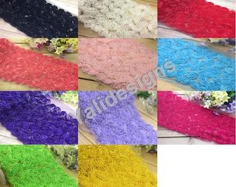 Wholesales 10 yards Lace Trim Fabric Bridal Chiffon Lace Trim Grenadine 3D Wedding Mesh 6 Rows Trim  YTA36 -Mixture Color