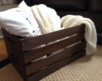 Handmade Rustic Wood Wine Crate | Wooden Crate | Farmhouse Decor | Blanket Storage | Primitive Decor