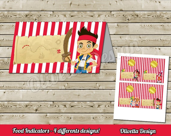 Jake and The Neverland Pirates Food Tent Food Label BIRTHDAY party Printable - Editable PDF - Instant Download - 4 Models Included!  sc 1 st  Etsy & Jake and The Neverland Pirates Food Tent Food Label BIRTHDAY