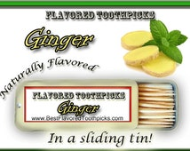 Ginger Flavored Toothpicks - 70+ Flavors! Ginger Root, Ginger Snaps, Candy, Flavored Toothpick, Dental Office Decor, Dental Gift, Teeth,