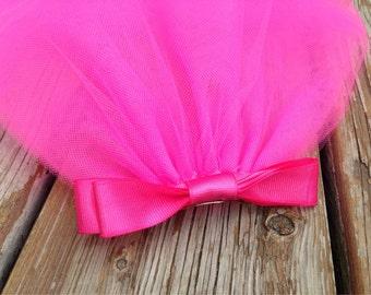 Pink Bachelorette Party Veil Clip + bow to match Bachelorette Tutu