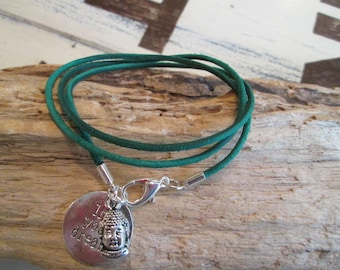 Leather suede leather band bracelet * forest green * with trailer: Buddha * hippie