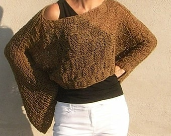 NEW Shrug design!   Hand KnittedCropped  brown Sweater  Shrug  Spring Summer    Autumn
