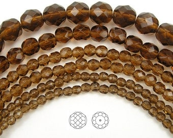 8mm (51pcs) Smoked Topaz, Czech Fire Polished Round Faceted Glass Beads, 16 inch strand