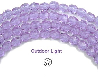 6mm (68pcs) Violet Sky Blue changing colors, Czech Fire Polished Round Faceted Glass Beads, 16 inch strand