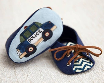 Custom Police Baby Boy Shoes, Navy Blue and Chevron, FREE personalization, Personalized baby gift, Photo prop, Cop baby